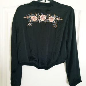Zara Cropped Embroidered Black Jacket